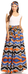 Sakkas Asma Convertible Traditional Wax Print Adjustable Strap Maxi Skirt | Dress#color_406-Multi