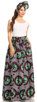 Sakkas Asma Convertible Traditional Wax Print Adjustable Strap Maxi Skirt | Dress#color_414-Multi