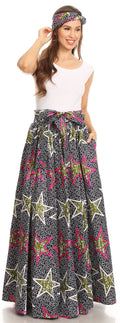 Sakkas Asma Convertible Traditional Wax Print Adjustable Strap Maxi Skirt | Dress#color_415-black/multi/stars