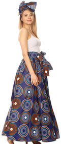 Sakkas Asma Convertible Traditional Wax Print Adjustable Strap Maxi Skirt | Dress#color_423-BlueMulti