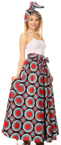 Sakkas Asma Convertible Traditional Wax Print Adjustable Strap Maxi Skirt | Dress#color_424-Multi