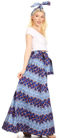 Sakkas Asma Convertible Traditional Wax Print Adjustable Strap Maxi Skirt | Dress#color_45-Multi