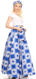 Sakkas Asma Convertible Traditional Wax Print Adjustable Strap Maxi Skirt | Dress#color_47-Multi