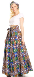Sakkas Asma Convertible Traditional Wax Print Adjustable Strap Maxi Skirt | Dress#color_48-Multi