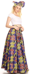 Sakkas Asma Convertible Traditional Wax Print Adjustable Strap Maxi Skirt | Dress#color_49-Multi