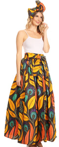 Sakkas Asma Convertible Traditional Wax Print Adjustable Strap Maxi Skirt | Dress#color_50-Multi