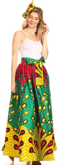 Sakkas Asma Convertible Traditional Wax Print Adjustable Strap Maxi Skirt | Dress#color_51-Multi