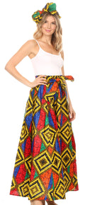 Sakkas Asma Convertible Traditional Wax Print Adjustable Strap Maxi Skirt | Dress#color_52-Multi