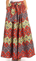 Sakkas Asma Convertible Traditional Wax Print Adjustable Strap Maxi Skirt | Dress#color_530-YellowRed