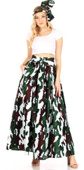 Sakkas Asma Convertible Traditional Wax Print Adjustable Strap Maxi Skirt | Dress#color_56-Multi