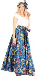 Sakkas Asma Convertible Traditional Wax Print Adjustable Strap Maxi Skirt | Dress#color_62-Multi