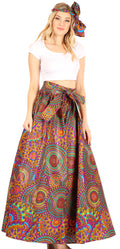 Sakkas Asma Convertible Traditional Wax Print Adjustable Strap Maxi Skirt | Dress#color_63-Multi
