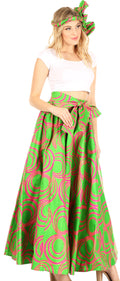 Sakkas Asma Convertible Traditional Wax Print Adjustable Strap Maxi Skirt | Dress#color_66-FuschGreen