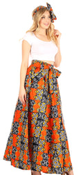 Sakkas Asma Convertible Traditional Wax Print Adjustable Strap Maxi Skirt | Dress#color_68-Multi