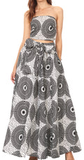 Sakkas Asma Convertible Traditional Wax Print Adjustable Strap Maxi Skirt | Dress#color_69-Multi