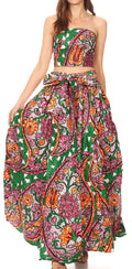 Sakkas Asma Convertible Traditional Wax Print Adjustable Strap Maxi Skirt | Dress#color_70-Multi