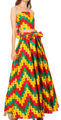 Sakkas Asma Convertible Traditional Wax Print Adjustable Strap Maxi Skirt | Dress#color_71-Multi