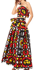 Sakkas Asma Convertible Traditional Wax Print Adjustable Strap Maxi Skirt | Dress#color_72-Multi