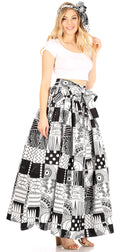Sakkas Asma Convertible Traditional Wax Print Adjustable Strap Maxi Skirt | Dress#color_76-Multi