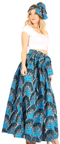 Sakkas Asma Convertible Traditional Wax Print Adjustable Strap Maxi Skirt | Dress#color_80-Multi
