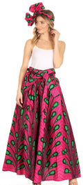 Sakkas Asma Convertible Traditional Wax Print Adjustable Strap Maxi Skirt | Dress#color_81-Multi