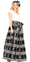 Sakkas Asma Convertible Traditional Wax Print Adjustable Strap Maxi Skirt | Dress#color_82-BlackMulti