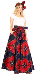 Sakkas Asma Convertible Traditional Wax Print Adjustable Strap Maxi Skirt | Dress#color_84-Multi