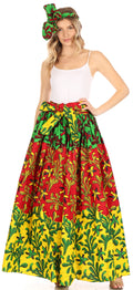 Sakkas Asma Convertible Traditional Wax Print Adjustable Strap Maxi Skirt | Dress#color_85-Multi