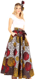 Sakkas Asma Convertible Traditional Wax Print Adjustable Strap Maxi Skirt | Dress#color_86-Multi