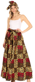 Sakkas Asma Convertible Traditional Wax Print Adjustable Strap Maxi Skirt | Dress#color_87-Multi