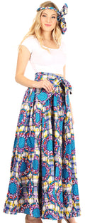 Sakkas Asma Convertible Traditional Wax Print Adjustable Strap Maxi Skirt | Dress#color_88-Multi