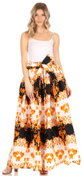 Sakkas Asma Convertible Traditional Wax Print Adjustable Strap Maxi Skirt | Dress#color_93-BlackWhiteGold