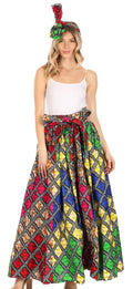 Sakkas Asma Convertible Traditional Wax Print Adjustable Strap Maxi Skirt | Dress#color_94-Multi