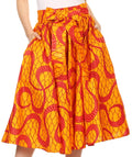 Sakkas Celine African Dutch Ankara Wax Print Full Circle Skirt#color_1100-OrangeMulti