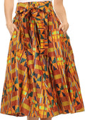 Sakkas Celine African Dutch Ankara Wax Print Full Circle Skirt#color_1110-OrangeMulti