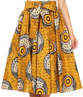 Sakkas Celine African Dutch Ankara Wax Print Full Circle Skirt#color_1111-YellowMulti