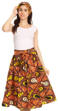 Sakkas Celine African Dutch Ankara Wax Print Full Circle Skirt#color_1116-OrangeYellow