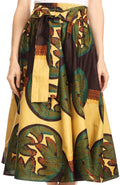Sakkas Celine African Dutch Ankara Wax Print Full Circle Skirt#color_1117-BrownSand