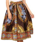 Sakkas Celine African Dutch Ankara Wax Print Full Circle Skirt#color_1120-Chocolate