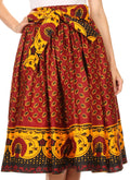 Sakkas Celine African Dutch Ankara Wax Print Full Circle Skirt#color_1128-Red