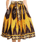 Sakkas Celine African Dutch Ankara Wax Print Full Circle Skirt#color_1132-OrangeBrown