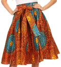 Sakkas Celine African Dutch Ankara Wax Print Full Circle Skirt#color_1134-OrangeTeal