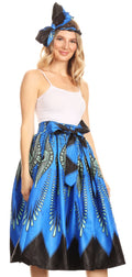 Sakkas Celine African Dutch Ankara Wax Print Full Circle Skirt#color_149-BlueTurquoise