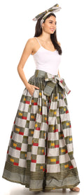 Sakkas Celine African Dutch Ankara Wax Print Full Circle Skirt#color_16-Multi
