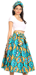 Sakkas Celine African Dutch Ankara Wax Print Full Circle Skirt#color_17-Multi