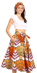 Sakkas Celine African Dutch Ankara Wax Print Full Circle Skirt#color_18-WhiteMulti