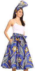 Sakkas Celine African Dutch Ankara Wax Print Full Circle Skirt#color_19-BlueMulti