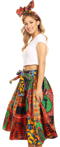 Sakkas Celine African Dutch Ankara Wax Print Full Circle Skirt#color_20-Multi
