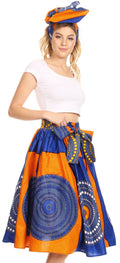 Sakkas Celine African Dutch Ankara Wax Print Full Circle Skirt#color_21-Multi