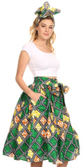 Sakkas Celine African Dutch Ankara Wax Print Full Circle Skirt#color_22-Multi